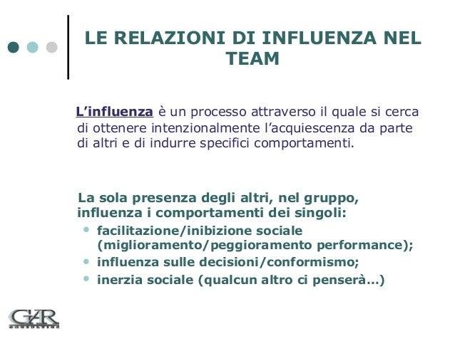 LE RELAZIONI DI INFLUENZA NEL TEAM L'influenza è un processo attraverso il quale si cerca di ottenere intenzionalmente l'a...