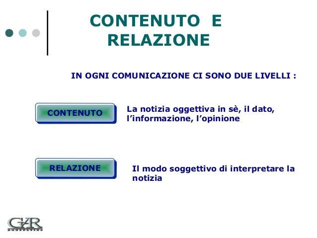 CONTENUTO E RELAZIONE IN OGNI COMUNICAZIONE CI SONO DUE LIVELLI :  CONTENUTO CONTENUTO  RELAZIONE RELAZIONE  La notizia og...