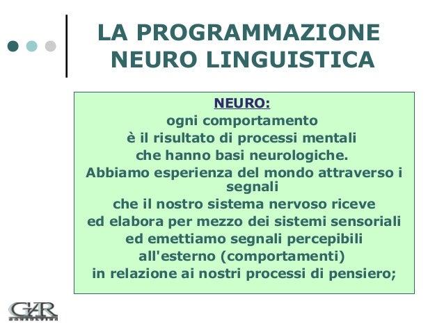 LA PROGRAMMAZIONE NEURO LINGUISTICA NEURO: ogni comportamento è il risultato di processi mentali che hanno basi neurologic...