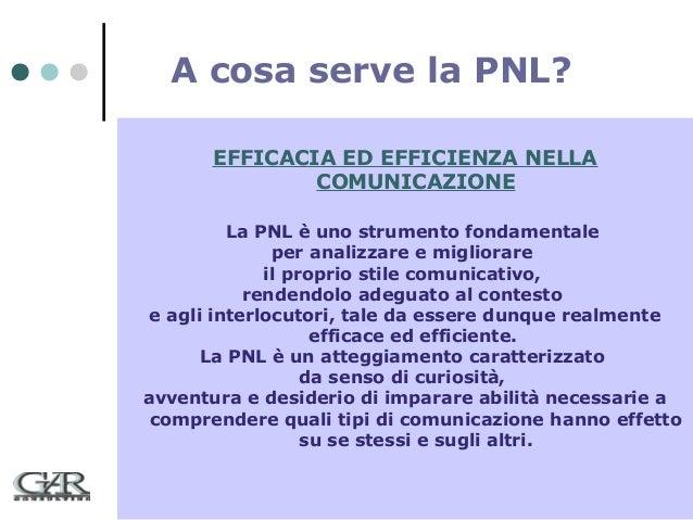 A cosa serve la PNL? EFFICACIA ED EFFICIENZA NELLA COMUNICAZIONE La PNL è uno strumento fondamentale per analizzare e migl...