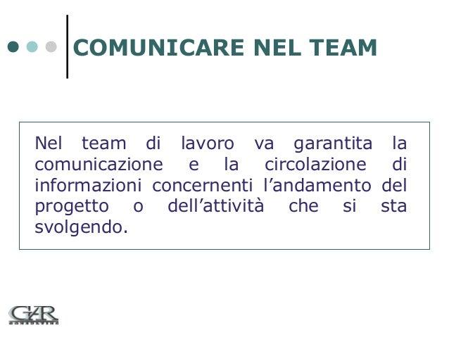 COMUNICARE NEL TEAM  Nel team di lavoro va garantita la comunicazione e la circolazione di informazioni concernenti l'anda...