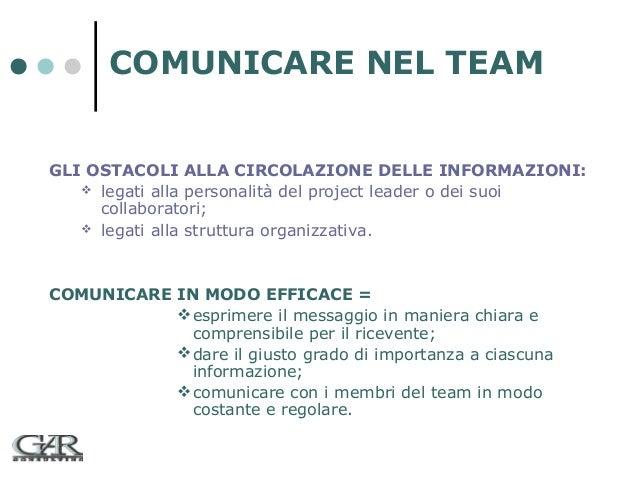 COMUNICARE NEL TEAM GLI OSTACOLI ALLA CIRCOLAZIONE DELLE INFORMAZIONI:  legati alla personalità del project leader o dei ...
