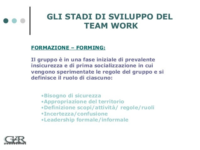 GLI STADI DI SVILUPPO DEL TEAM WORK FORMAZIONE – FORMING: Il gruppo è in una fase iniziale di prevalente insicurezza e di ...