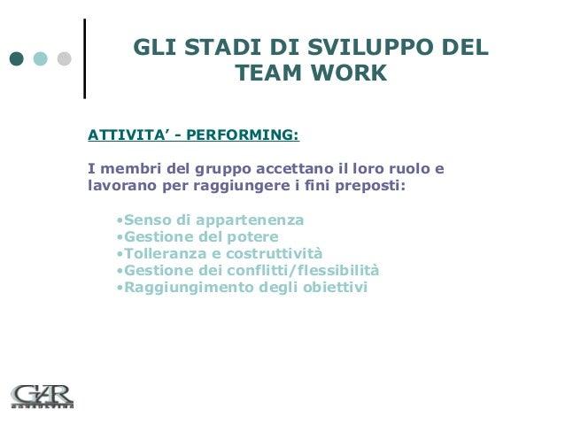GLI STADI DI SVILUPPO DEL TEAM WORK ATTIVITA' - PERFORMING: I membri del gruppo accettano il loro ruolo e lavorano per rag...