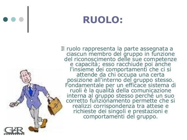 RUOLO: Il ruolo rappresenta la parte assegnata a ciascun membro del gruppo in funzione del riconoscimento delle sue compet...