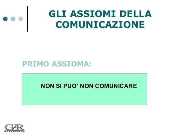 GLI ASSIOMI DELLA COMUNICAZIONE  PRIMO ASSIOMA: NON SI PUO' NON COMUNICARE