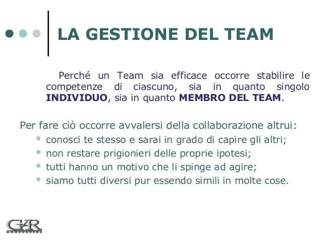 LA GESTIONE DEL TEAM Perché un Team sia efficace occorre stabilire le competenze di ciascuno, sia in quanto singolo INDIVI...
