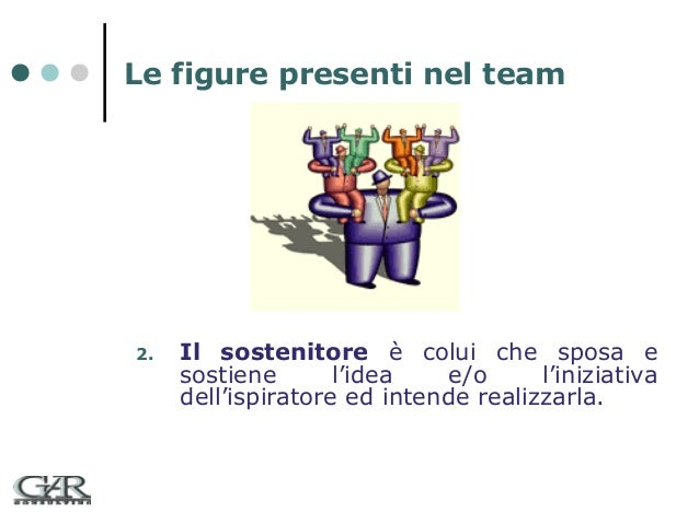 Le figure presenti nel team  2.  Il sostenitore è colui che sposa e sostiene l'idea e/o l'iniziativa dell'ispiratore ed in...