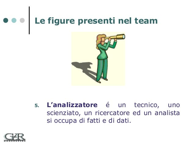 Le figure presenti nel team  5.  L'analizzatore é un tecnico, uno scienziato, un ricercatore ed un analista si occupa di f...