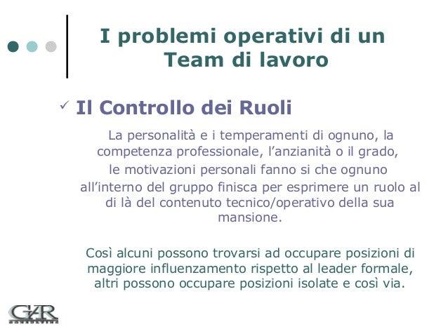 I problemi operativi di un Team di lavoro   Il Controllo dei Ruoli La personalità e i temperamenti di ognuno, la competen...