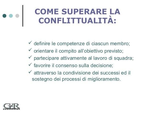 COME SUPERARE LA CONFLITTUALITÀ:  definire le competenze di ciascun membro;  orientare il compito all'obiettivo previsto...