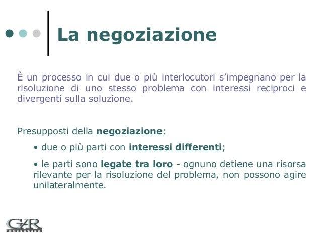 La negoziazione È un processo in cui due o più interlocutori s'impegnano per la risoluzione di uno stesso problema con int...
