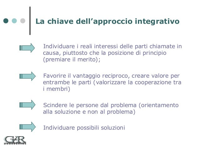 La chiave dell'approccio integrativo Individuare i reali interessi delle parti chiamate in causa, piuttosto che la posizio...