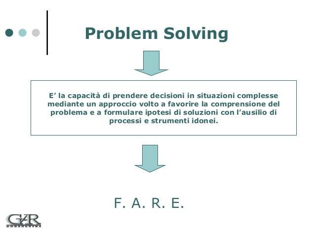 Problem Solving  E' la capacità di prendere decisioni in situazioni complesse mediante un approccio volto a favorire la co...