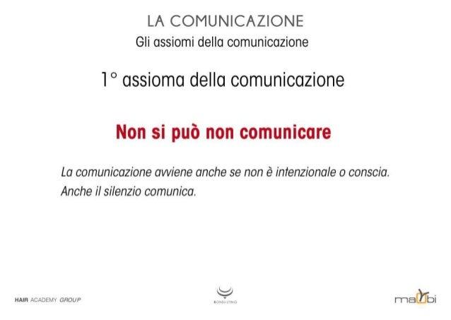 LA COMUNICAZIONE Gli assiomi della comunicazione  l° assioma della comunicazione  Non si può non comunicare  La comunicazi...
