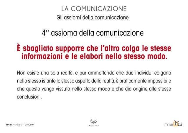 LA COMUNICAZIONE Gli assiomi della comunicazione  4° assioma della comunicazione  È sbagliato supporre che l'altro colga l...