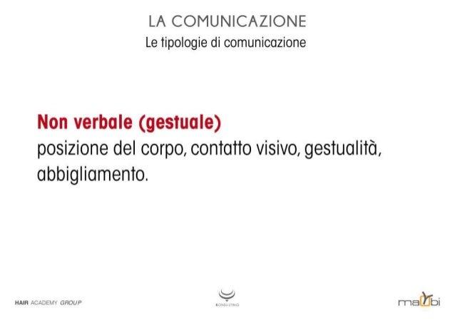 LA COMUNICAZIONE Le tipologie di comunicazione  Non verbale (gestuale) posizione del corpo,  contatto visivo,  gestualità,...