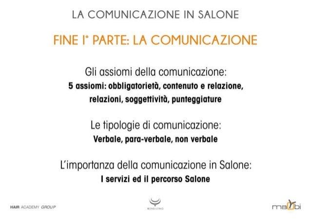 LA COMUNICAZIONE IN SALONE  FINE I' PARTE:  LA COMUNICAZIONE  Gli assiomi della comunicazione:  5 assiomi:  obbligatorietà...
