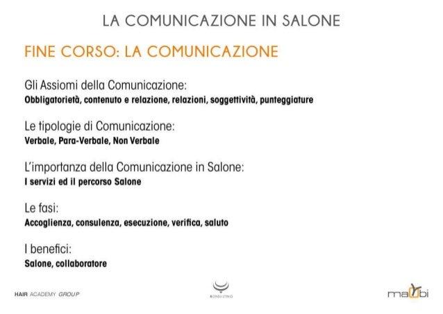 LA COMUNICAZIONE IN SALONE FINE CORSO:  LA COMUNICAZIONE  Gli Assiomi della Comunicazione:  obbligatorietà,  contenuto e r...
