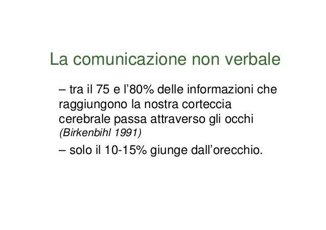 La comunicazione non verbale – tra il 75 e l'80% delle informazioni che raggiungono la nostra corteccia cerebrale passa at...
