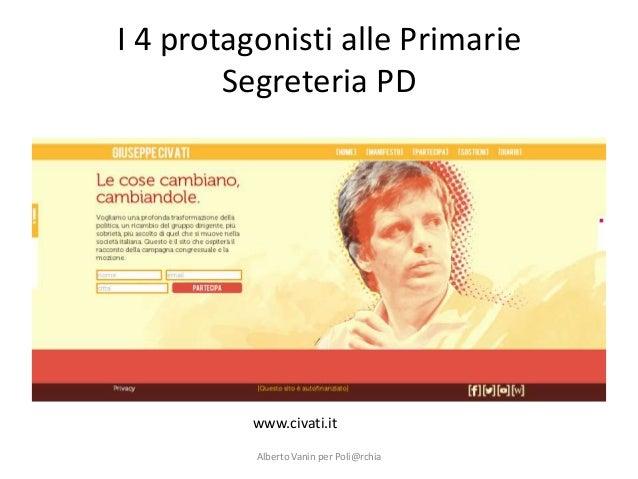 I 4 protagonisti alle Primarie Segreteria PD  www.civati.it Alberto Vanin per Poli@rchia
