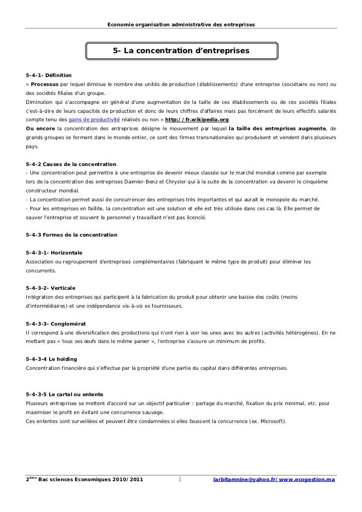 Economie organisation administrative des entreprises                                      5- La concentration d'entreprise...