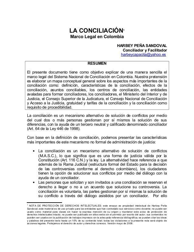 La conciliacion marco legal