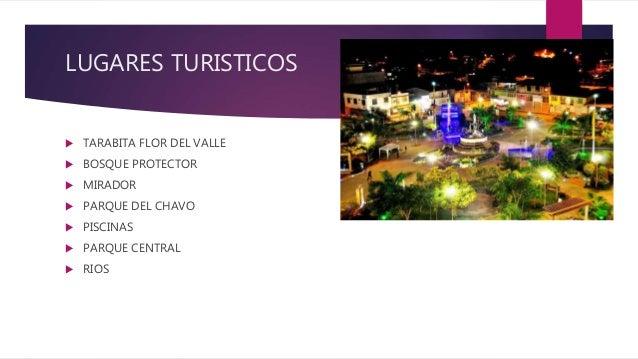 LUGARES TURISTICOS  TARABITA FLOR DEL VALLE  BOSQUE PROTECTOR  MIRADOR  PARQUE DEL CHAVO  PISCINAS  PARQUE CENTRAL ...