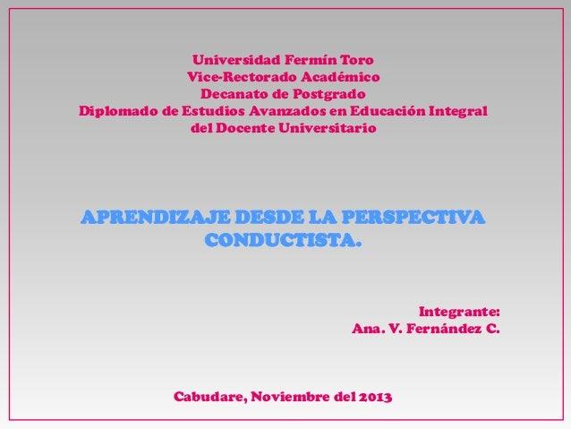 Universidad Fermín Toro Vice-Rectorado Académico Decanato de Postgrado Diplomado de Estudios Avanzados en Educación Integr...