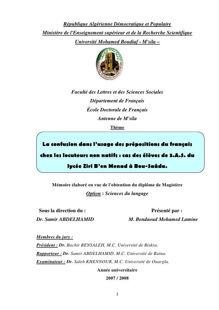 République Algérienne Démocratique et Populaire  Ministère de lEnseignement supérieur et de la Recherche Scientifique     ...