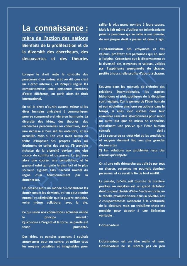 La connaissance : mère de l'action des nations Bienfaits de la prolifération et de la diversité des chercheurs, des découv...