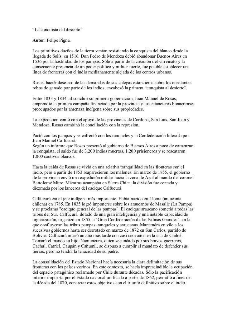 """""""La conquista del desierto""""Autor: Felipe Pigna.Los primitivos dueños de la tierra venían resistiendo la conquista del blan..."""