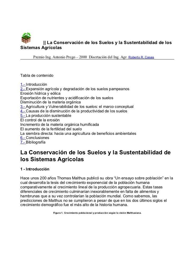 || La Conservación de los Suelos y la Sustentabilidad de losSistemas Agrícolas       Premio Ing. Antonio Prego – 2000 Dise...