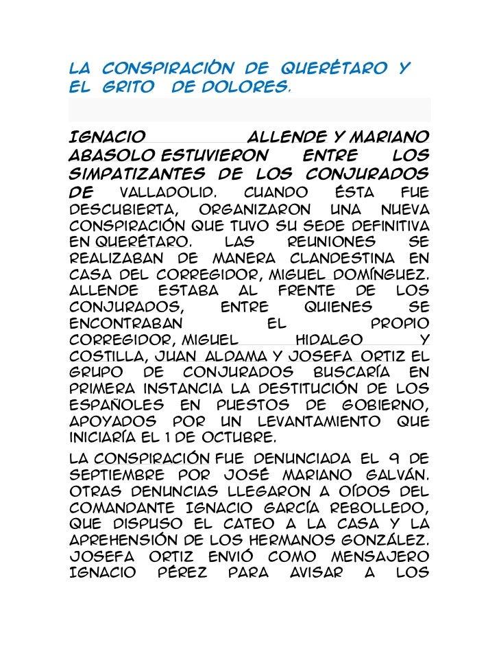 La  Conspiración  de  Querétaro  y  el  Grito   de Dolores.<br />Ignacio AllendeyMariano  Abasoloestuvieron entre los s...