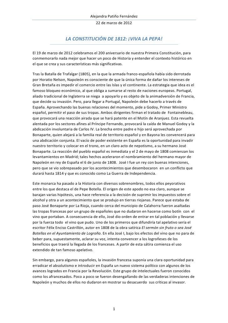 Alejandra Patiño Fernández                                      22 de marzo de 2012                    LA CONSTITUCIÓN DE ...