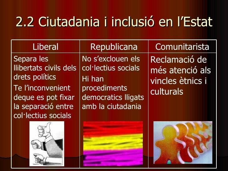 2.2 Ciutadania i inclusió en l'Estat Reclamació de més atenció als vincles ètnics i culturals No s'exclouen els col·lectiu...