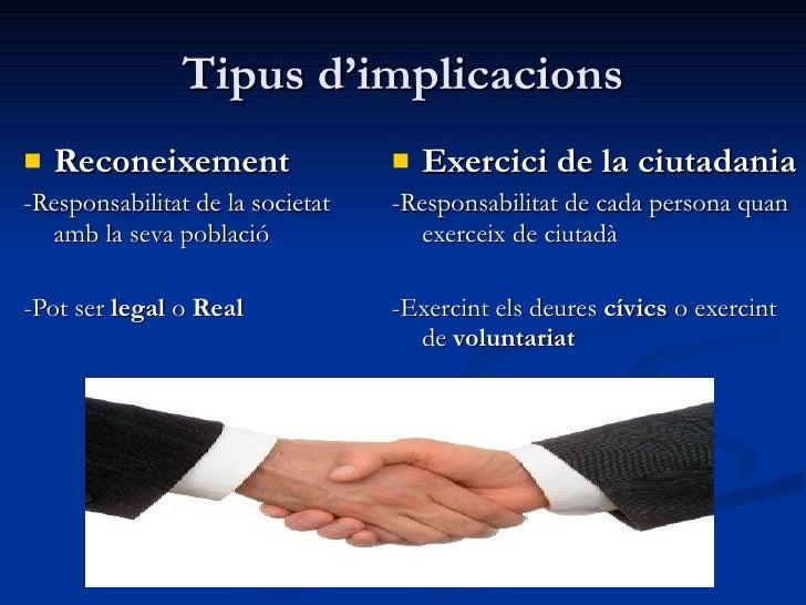 Tipus d'implicacions <ul><li>Reconeixement </li></ul><ul><li>-Responsabilitat de la societat amb la seva població </li></u...