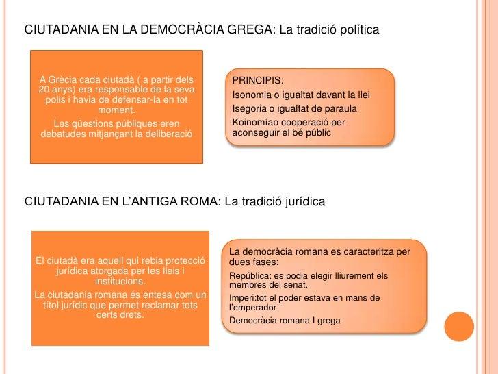 CIUTADANIA EN LA DEMOCRÀCIA GREGA: La tradició política<br />CIUTADANIA EN L'ANTIGA ROMA: La tradició jurídica<br />