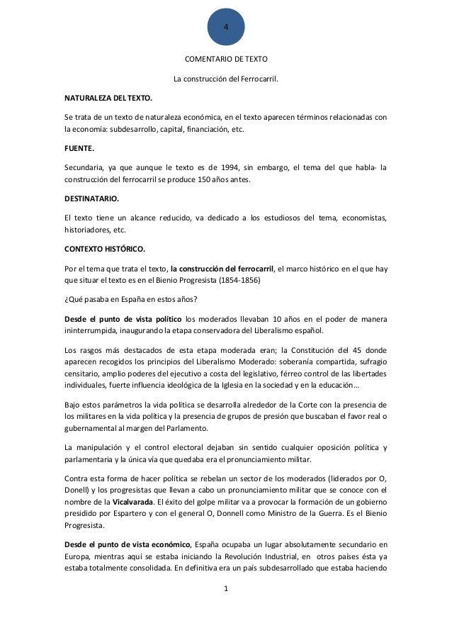 4 COMENTARIO DE TEXTO La construcción del Ferrocarril. NATURALEZA DEL TEXTO. Se trata de un texto de naturaleza económica,...