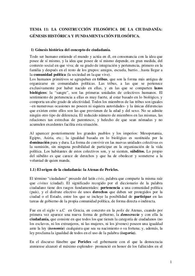 TEMA 11: LA CONSTRUCCIÓN FILOSÓFICA DE LA CIUDADANÍA:GÉNESIS HISTÓRICA Y FUNDAMENTACIÓN FILOSÓFICA.1) Génesis histórica de...