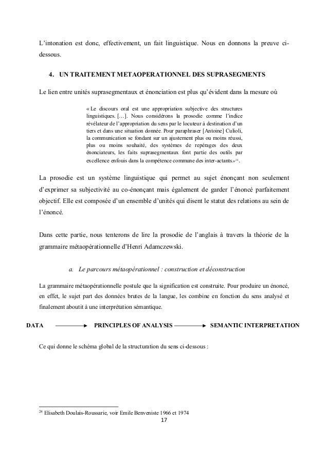 L'intonation est donc, effectivement, un fait linguistique. Nous en donnons la preuve cidessous. 4. UN TRAITEMENT METAOPER...