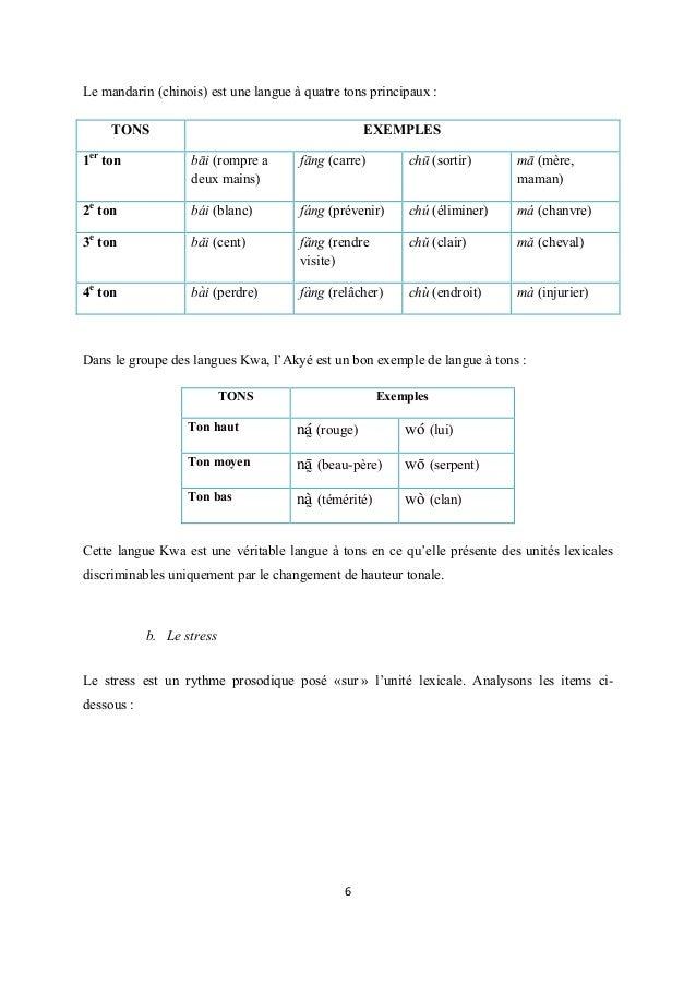Le mandarin (chinois) est une langue à quatre tons principaux :   TONS  EXEMPLES  1er ton  bаі (rompre a ̄ deux mains)  f...