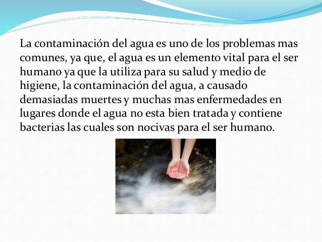 La contaminación del agua es uno de los problemas mas comunes, ya que, el agua es un elemento vital para el ser humano ya ...