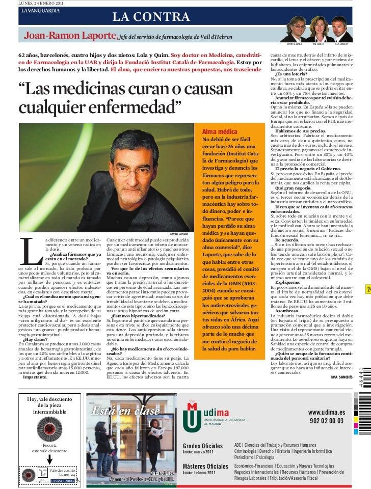 LUNES, 24 ENERO 2011                                                   LA CONTRA  Joan-Ramon Laporte, jefe del servicio de...