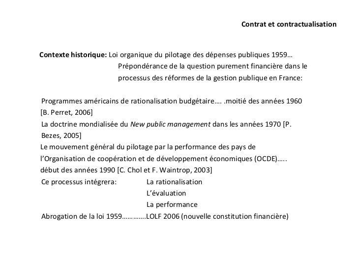 Contrat et contractualisationContexte historique: Loi organique du pilotage des dépenses publiques 1959…                  ...