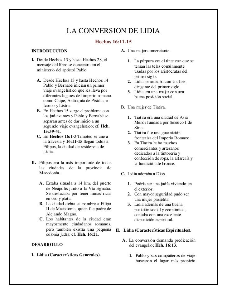 LA CONVERSION DE LIDIA                                 Hechos 16:11-15INTRODUCCION                                 A. Una ...