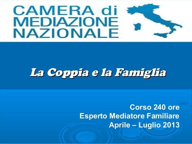 La Coppia e la Famiglia                      Corso 240 ore        Esperto Mediatore Familiare                Aprile – Lugl...