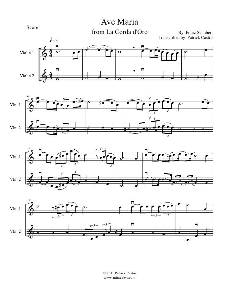 la corda d'oro: ave maria for violin duet  slideshare