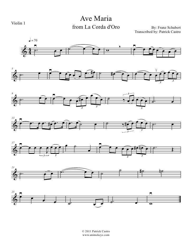 All Music Chords anime sheet music : La Corda D'Oro: Ave Maria for First Violin