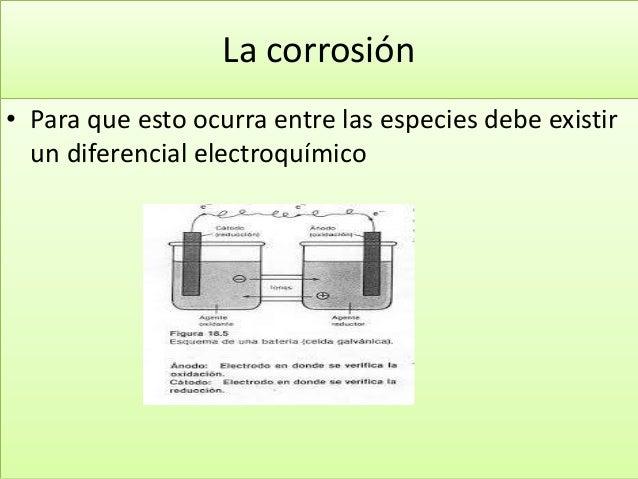 La corrosión • Para que esto ocurra entre las especies debe existir un diferencial electroquímico